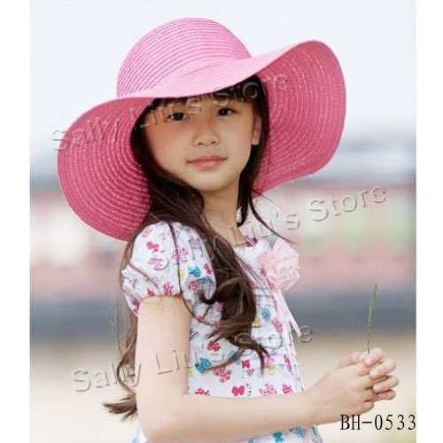 Pink Color Girls Summer Hat Kids Wide Brim Floppy Straw Beach Hat Kids  Beach Sun Summer Hat Girls Straw Sun Caps Free Shipping 09824a7afb5