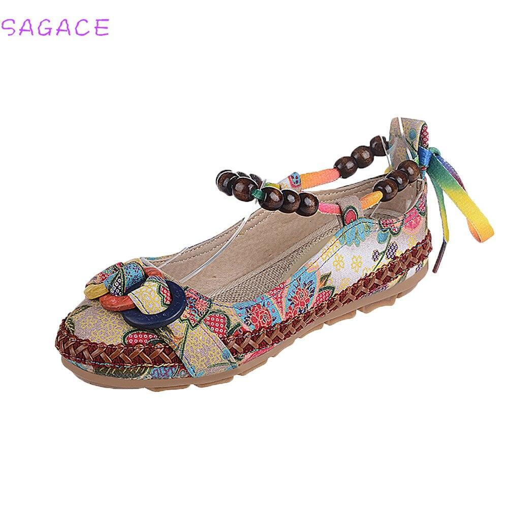 Cagace Multicolor Coton Ethnique Femmes Confortable Nouvelles Appartements Chaussures Dentelle Perles Bout De Up Coloré 2018 Mode Mocassins Rond Brodé fUfwxFa