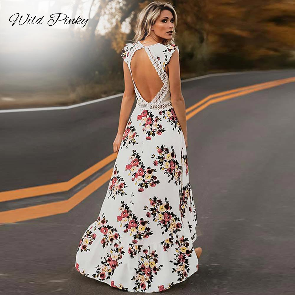 WildPinky Boho Summer <font><b>Sexy</b></font> <font><b>Hollow</b></font> Out <font><b>Dress</b></font> Women <font><b>Backless</b></font> Print Slim <font><b>Lace</b></font> Maxi <font><b>Dresses</b></font> 2019 Long Elegant Party <font><b>Dress</b></font> Vestidos image