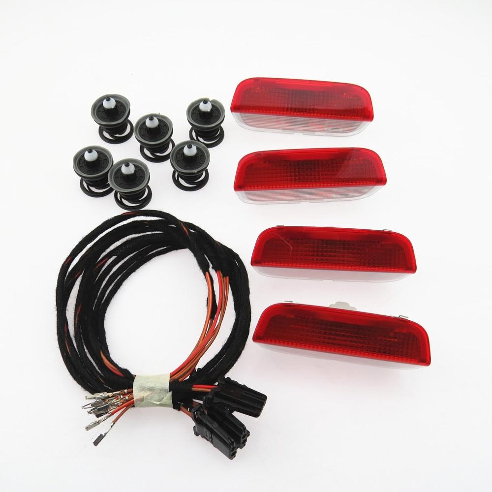 ZUCZUG 1 Set Door Warning Light Cable Harness For VW Golf MK5 MK6 MK7 Jetta Passat B6 B7 Tiguan Touareg 3AD 947 411 7L6 868 243 fit for golf 5 golf 6 mk5 mk6 passat cc b6 b7 tiguan led door warning lights 3ad 947 411