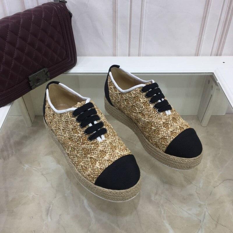 De Plates Appartements Bout Pic 2019 as Paille Laides Rond Sneakers forme Chaussures Mélangée Chanvre Mujer Lacets Chaud Plate À Zapatos As Printemps Femmes La Couleur Pic qAnwCfzA