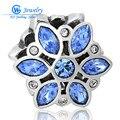 Gw fine jewelry natal flor de prata charme pingentes com cristal de safira para a jóia diy x197h20 mmaking handmade atacado