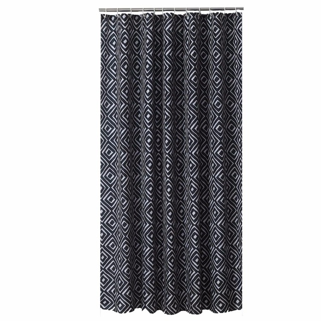 Black Geometry Designer Mildew Free WaterRepellent Fabric Shower Curtain Liner Bathroom Polyester Waterproof Home Window