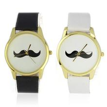 SmileOMG New Fashion Mustache Faux Leather Quartz Unisex Womens Wrist Watch ,Aug 17