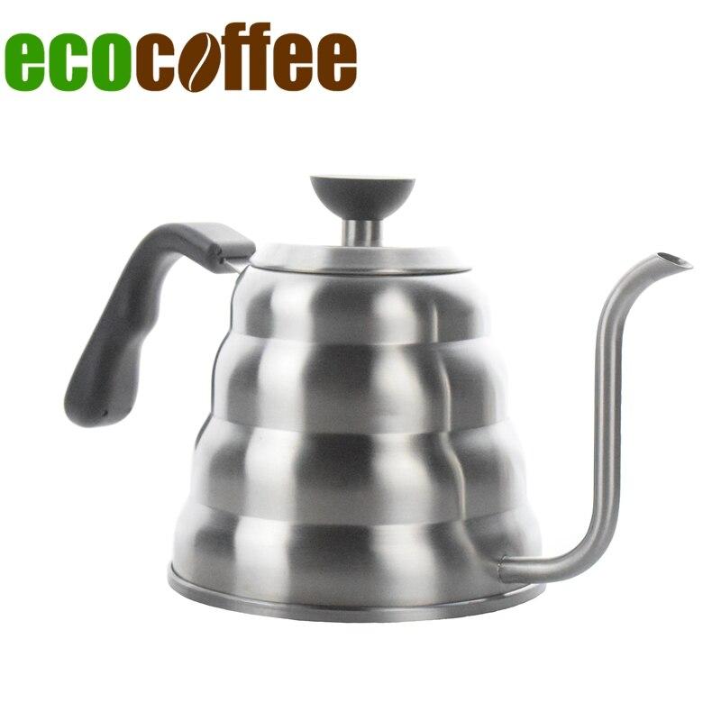 Ecocoffee 1.2l/40 oz Pour café hervidor de té de cuello de cisne de la olla para estufa V60 cafetera 304 tetera de acero inoxidable surtido de venta