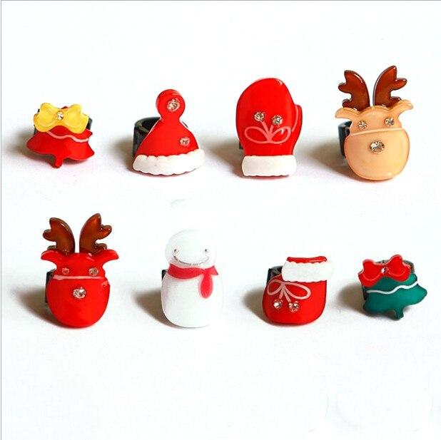 8pcs/set Mini Cute Christmas Hair Claw Snowman Reindeer Hair Crabs Hair Accessories For Baby Girl&woman Gift Girl's Hair Accessories Apparel Accessories