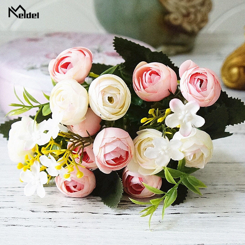 rose flowers artificial bouquet wedding fake flower (7)