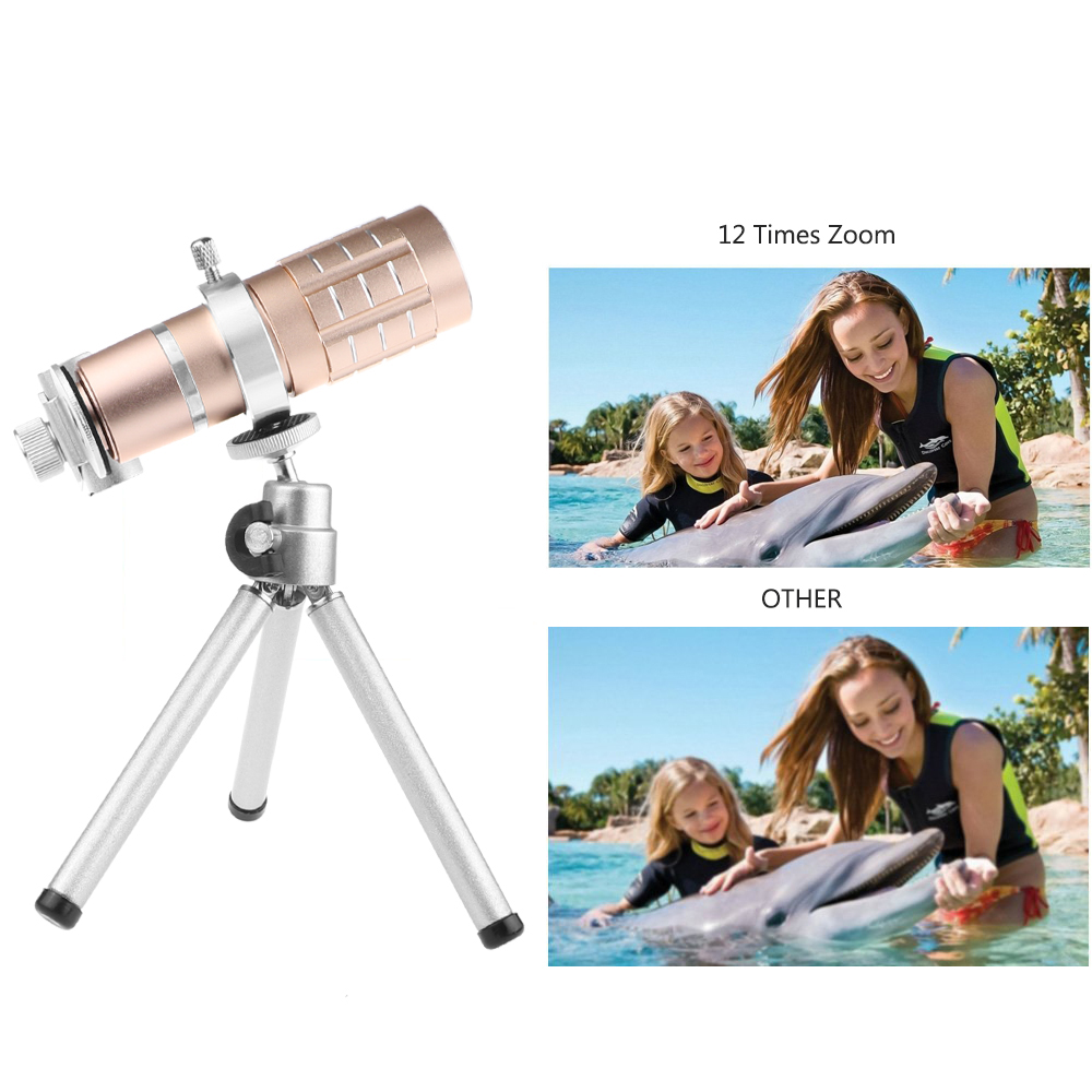Image 4 - Aluminum 12X Telephoto Telescope Phone Camera Zoom Lens With Tripod Universal Clip For Smartphone Mobile Telescopica Lenses-in Mobile Phone Lens from Cellphones & Telecommunications