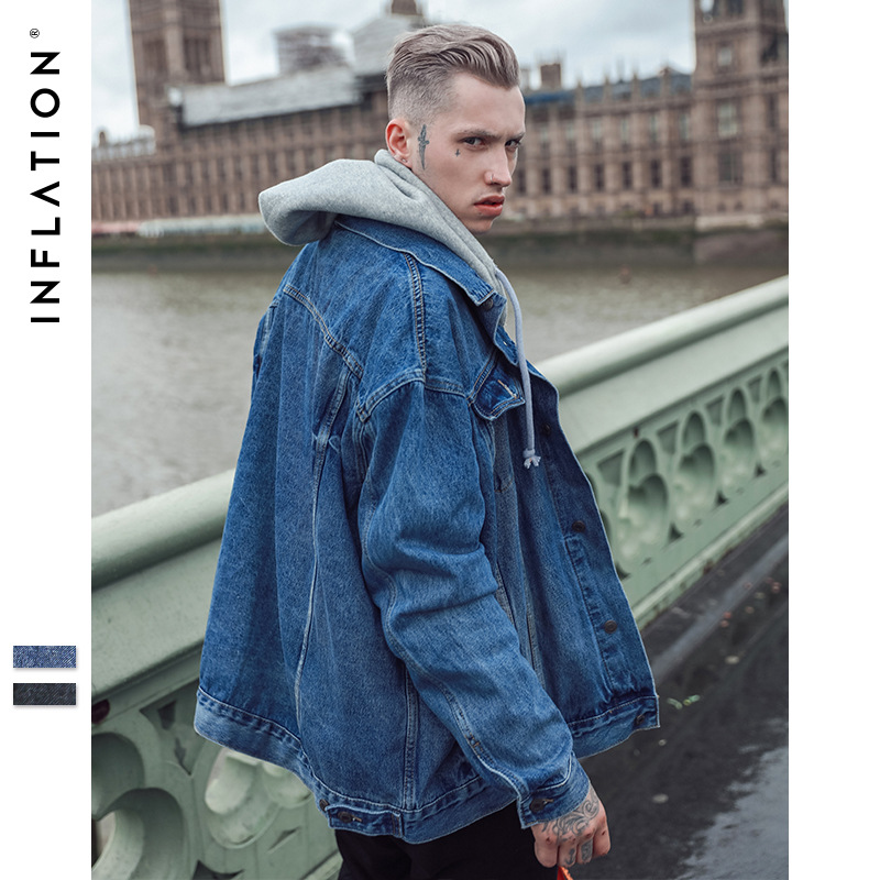 85 New Arrival Denim Jacket Men Fashion Brand Clothing Jeans Hoodies Jackets Blue & Black Color Outerwear Coat