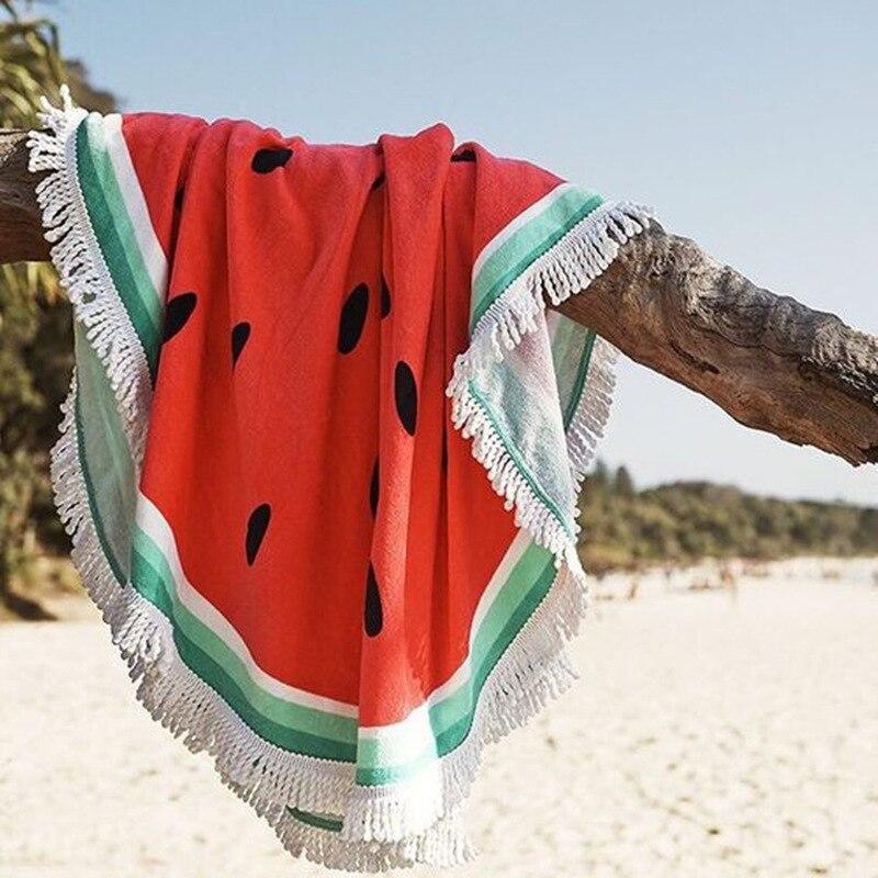 HOT Sale romantic beach towel round watermelon pattern printed bath towel tassel towel circle towel
