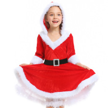 купить Deluxe Santa Claus Costume Cosplay girls Christmas Costume For kids Santa Claus Dress Suit недорого