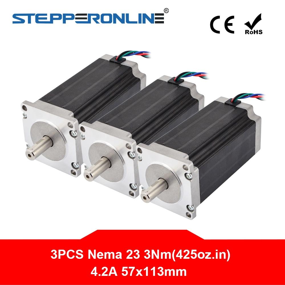 3PCS 3Nm 425oz in Nema 23 Stepper Motor 4 2A 4 lead 10mm Shaft 57x57x113mm DIY
