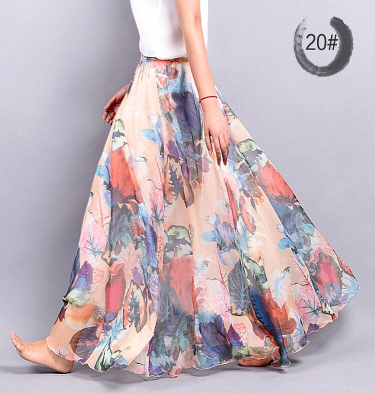 New Fashion Women Skirts Chiffon Pleated Skirt Beach Print long ...