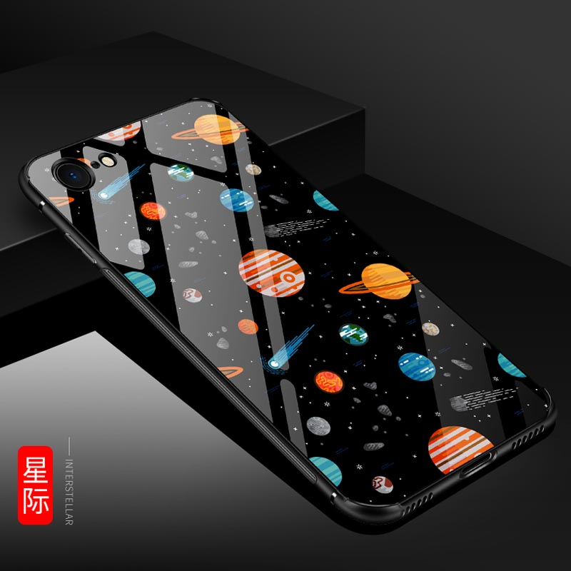 2018 Tempered Glass Case for iPhone 8 Luxury Pattern Hybird Anti-scratch Phone Housing Cover for iPhone 8 Plus Coque Capa