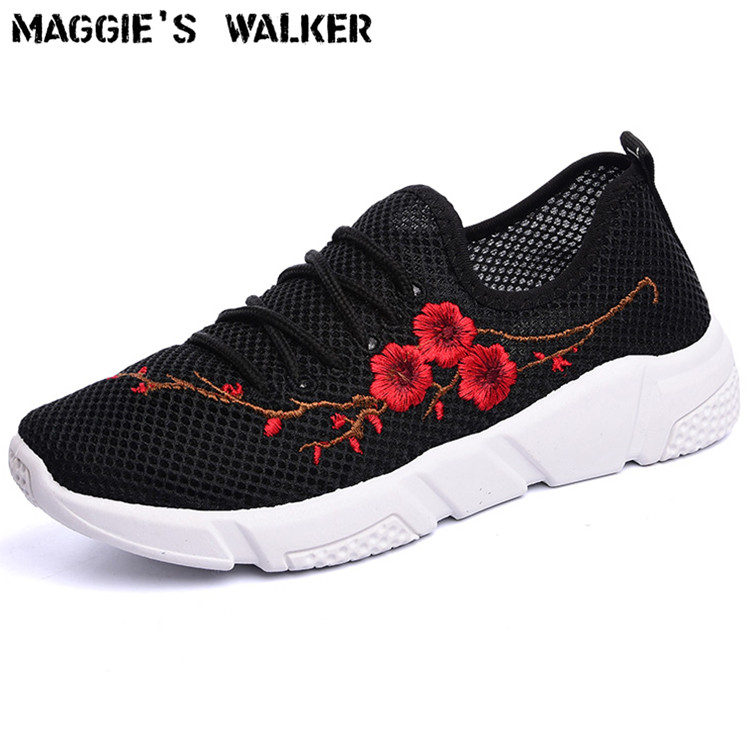 Maggie's Walker Fashion Casual Shoes Lacing Canvas Casual Shoes Embroider Platform Working Shoes Size 35~40 Promotion