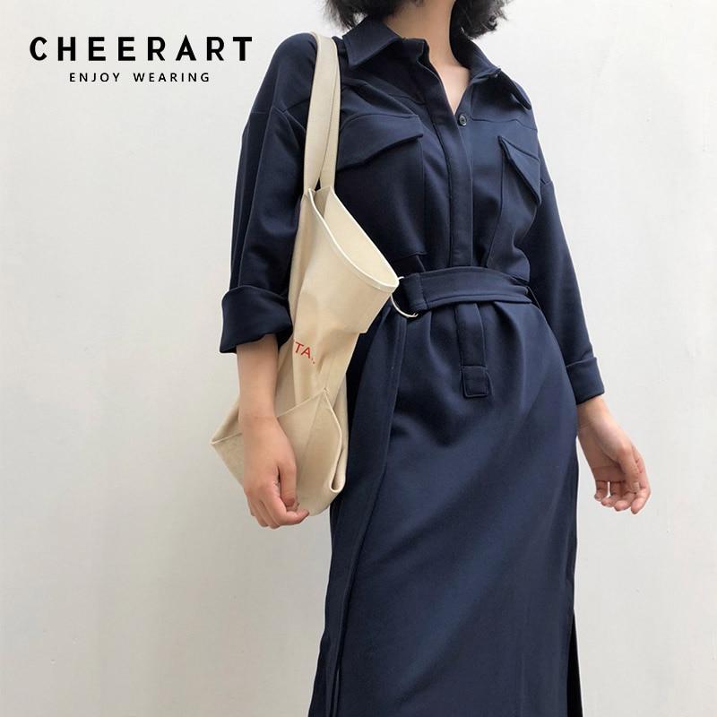 Cheerart Automne 2018 Bleu Robe Femmes Brun Chemise Robe En Dentelle Up Wrap Split Bureau Dames Coréenne Midi Robe