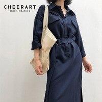 Cheerart Autumn 2018 Blue Dress Women Brown Shirt Dress Lace Up Wrap Split Office Ladies Korean Midi Dress
