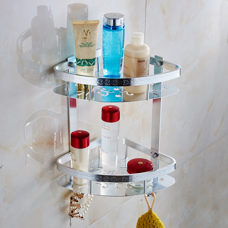 Bathroom Shelves 2 Layer Space Aluminum Shower Corner Shelf Wall Mount Shampoo Storage Shelf Rack Bathroom Basket Holder bathroom shelves stainless steel wall mount shower corner shelf shampoo storage basket modern home accessories holder wf 18067