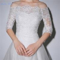 Favordear Off the Shoulder Lace Bolero Bridal Jacket Cape For Wedding Dress Cheap Bridal Wedding Accessories Half Sleeve Wraps