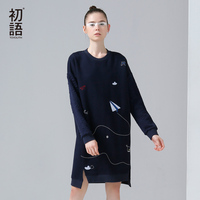 Toyouth 2016 New Arrival Women Autumn Dress Casual Funny Emboridery Pattern Loose Dresses Female O Neck