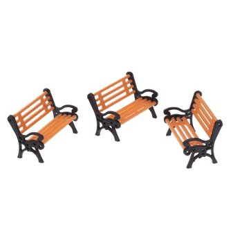 TOP! 5pcs Plastic Model Park Bench Model Landscape 1:50 w/ Black Arm image