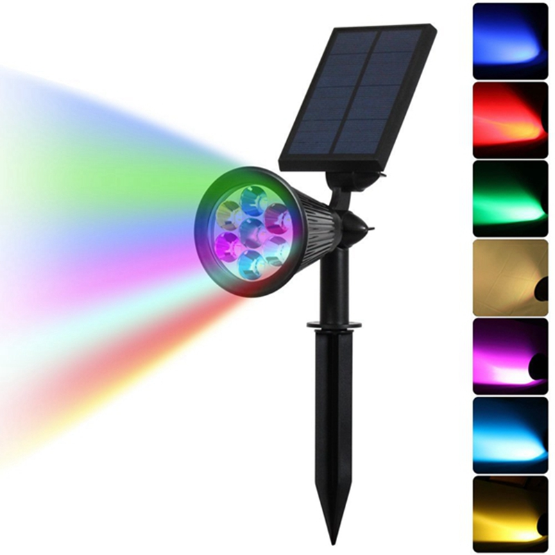 Jiguoor 7 LED Solar Spot Light Auto Color Changing Outdoor Lighting Waterproof Solar Powered Security Landscape Wall LightJiguoor 7 LED Solar Spot Light Auto Color Changing Outdoor Lighting Waterproof Solar Powered Security Landscape Wall Light