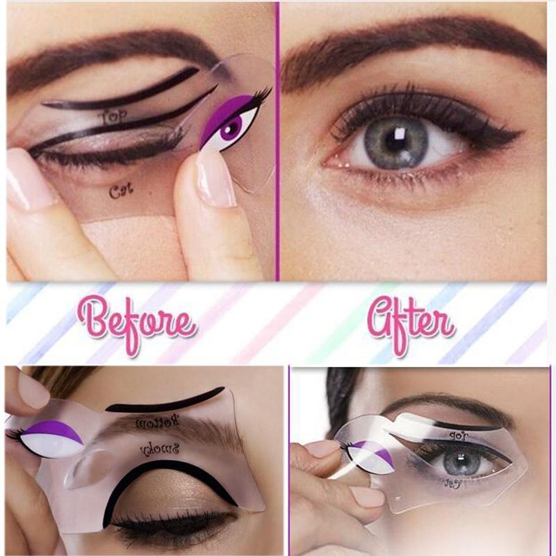 Professional 2pcs1lot Women Smoky Eyes Stencil Models Template Draw