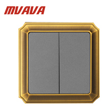 LMN 16A,110-250V wall switch,Decorative 2 gang Electrical Light Push Button Switch Luxury Bronzed Frame ,Factory Price!