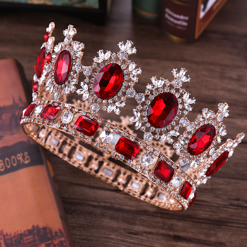 Luxury Gold Wedding Hair Jewelry Red Crystal Big Round Heavy Tiaras And Crowns King Queen Diadem Wedding Bridal Hair Accessories 2017 new pink gold silver king crowns handmade tiaras brides headband crystal bridal diadem queen crown wedding hair accessories