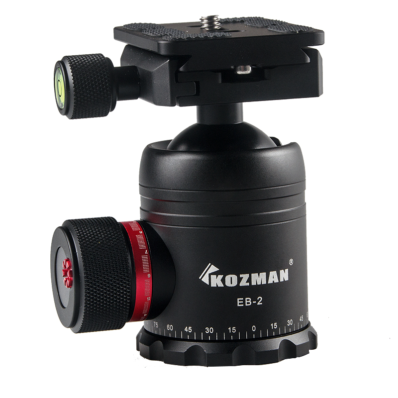 Kozman EB-2 Camera Tripod Ball Head Ballhead Quick Release Plate / 40mm Super Large Ball for Big Camera / Panoramic Photos aluminum gimbal swivel tripod ball head ball head with quick release plate 1 4 screw 36mm large sphere panoramic photos