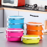Korean Portable Food Container Stainless Steel Lunch Food Box Thermal Insulated Dinnerware Sets