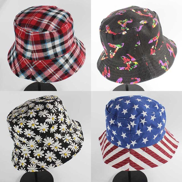 Summer 100% Cotton Unisex Bucket Hats For Women Sun Beach Caps Fisherman Hats  Free Shipping 176ea0605