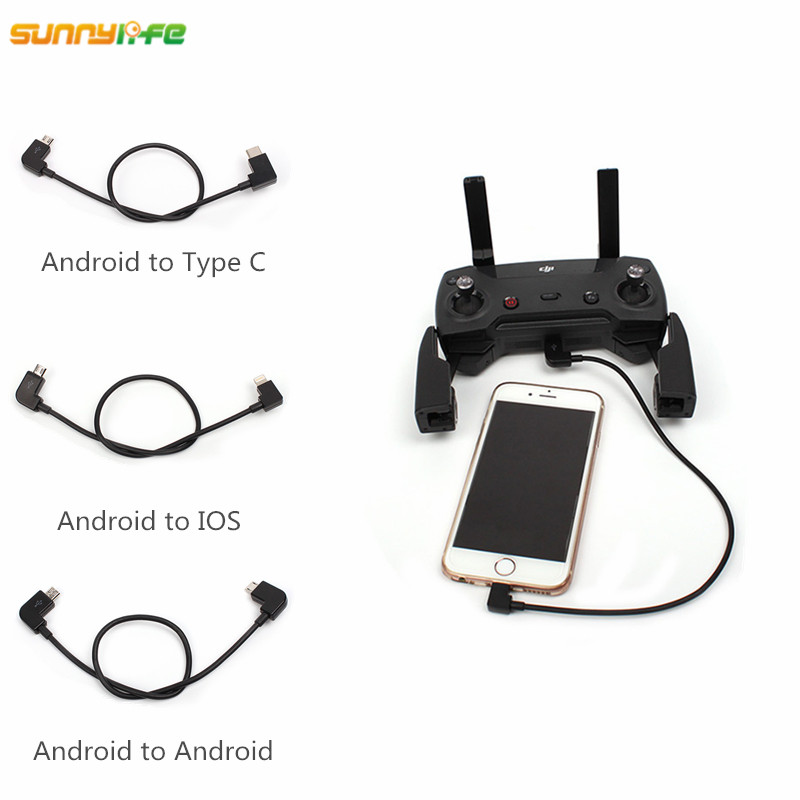 Sunnylife Spark DJI Mavic Air Mavic Pro Remote Control Data Cable Tablet Phone Converting Line Connector Android to IOS Type-C ...