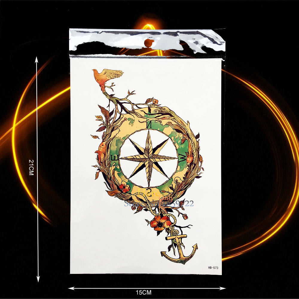 1PC Sexy Body Leg Art Waterproof Tattoo Compass Anchor Bird Root Design Temporary Arm Tattoo Sleeve Sticker Summer Style HHB-573