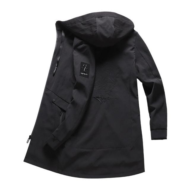 857bf44c161 Winter Hooded Long Windbreaker Jacket Men Winter Waterproof Long Trench  Overcoats Wind Breaker Autumn Men s Coats Black Clothing