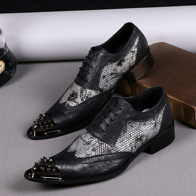 Big size EU46 iron head pointed Black genuine leather oxfords men s formal  dress wedding flats business office male shoes men c2d02b761fb0
