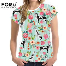 FORUDESIGNS T Shirt Women Funny Great Pyrenees Print T-shirt Ladies Fashion Summer Tops for Teen Girls Cartoon Puppy Floral Tees