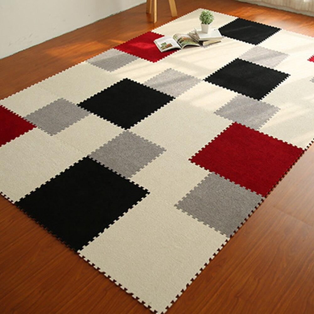 Yazi 9PCS DIY Puzzle Mat EVA Foam Shaggy Carpet Doormat Jigsaw Mat Plush  Soft Area Rug