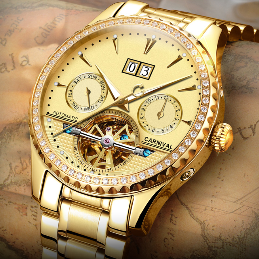 e673dc82 Карнавал Элитный бренд Tourbillon Деловые часы Для Мужчин Скелет стильный  мода автоматический Часы Водонепроницаемый роскошные часы
