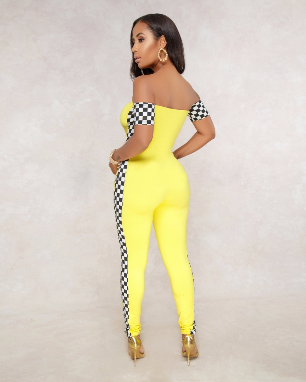 945f11847d86 ... 2018 Summer Women Plaid Racing Print off-shoulder Slim Fitness Jumpsuits  Body Suit Up Sexy ...