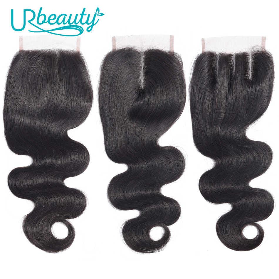 Объемная волна 4*4 Кружева Закрытие 100% человеческие волосы UR красота натуральный цвет бразильские не Реми волосы бесплатно/средний/три части закрытие