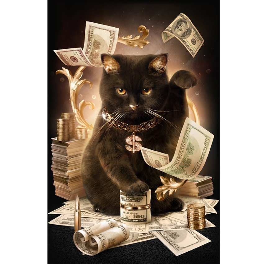 3D Diy Diamond Painting dollar Cat With Cash Full Square Cross Stitch Crystal Mosaic Diamond Embroidery Home Decorating M061
