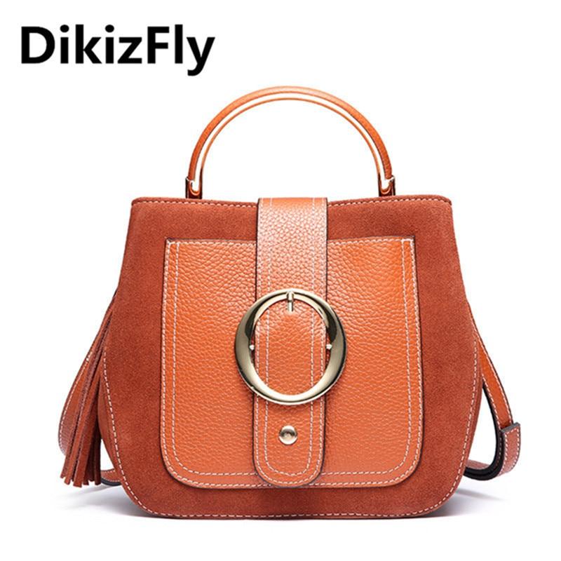DikizFly Vintage Women Bags Brand Genuine Leather Women Handbags Cow Leather Shoulder Bag Women Messenger Bag Totes sac a main