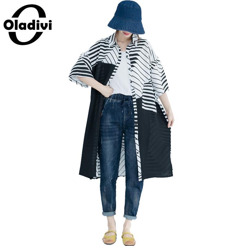 Oladivi grande taille femmes mode Blouses imprimées dames OL chemises officielles été 2019 nouveau Top mince Cardigan femme tunique Blusas