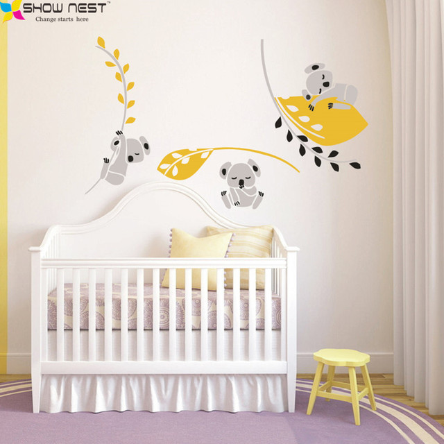 Three Koala Holding Branches Wall Stickers Home Decor, Koala Bear Wall Decal  For Baby Nursery Part 52