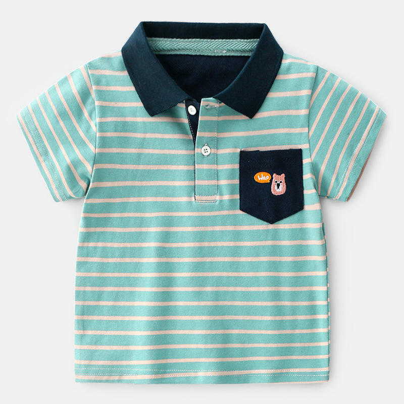 Summer New Kids Boys Striped Polo Tees And Polos Short Sleeve Boys Polo Shirt Kids Polo Shirts Clothing