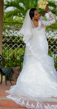Plus Size Bride Dresses Custom Made Elegant Beaded Lace Long Sleeves Mermaid Wedding Dress vestidos de noiva