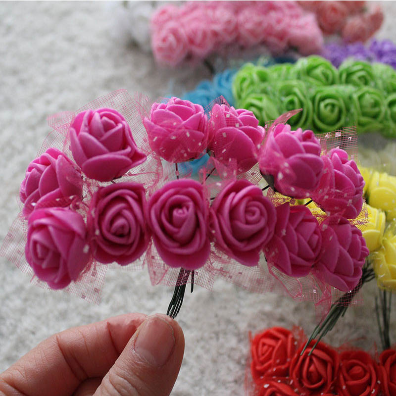 144pcs 2cm Mini Foam Rose Artificial Flower Bouquet Multicolor DIY Wedding Flower Decoration Scrapbooking Fake Rose Flower in Artificial Dried Flowers from Home Garden