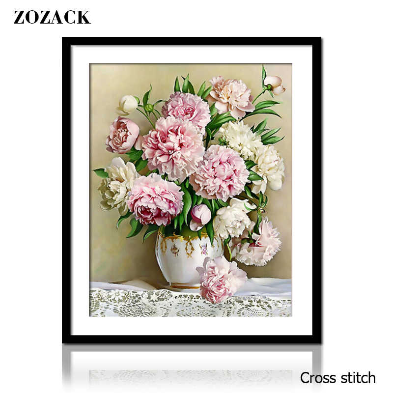 Needlework,Flowers,DIY DMC Peony Vase painting pattern on the fabric Cross stitch,Sets For Embroidery kits chinese Cross-Stitch
