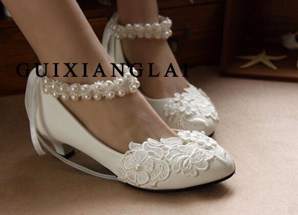 ФОТО 3cm/5cm/8cm Women Lace Pearl Wedding Shoes Sweet White Flower Lace Platform High Heels Pearls Ankle Strap Shoes Bride Shoes